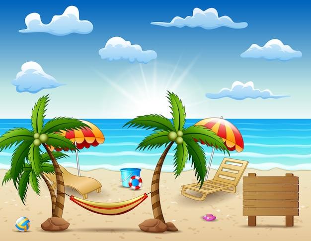 Zee in de zomer met reisaccessoires over de hele wereld