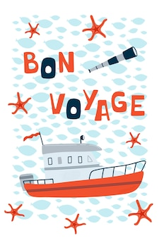 Zee kinderposter met motorboot en belettering bon voyage in cartoon-stijl.