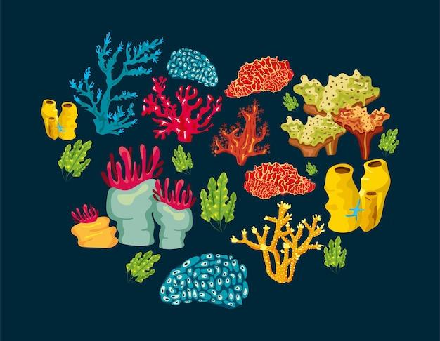 Zee koralen op blauw