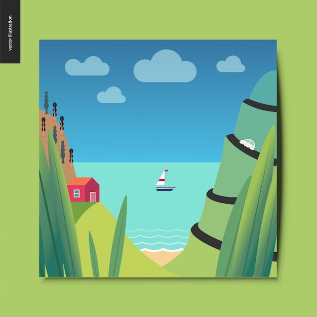 Zee kust illustratie