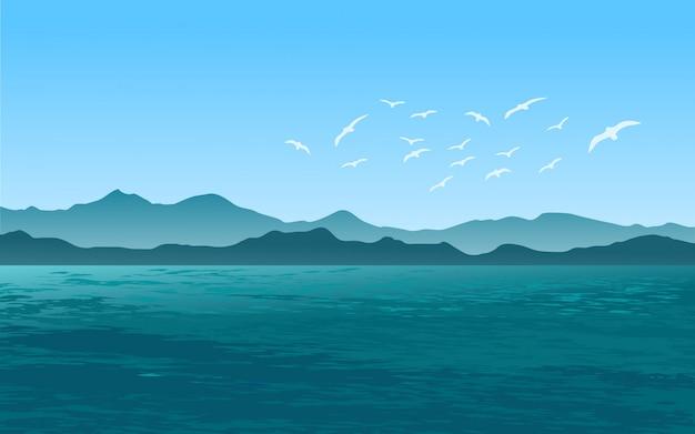 Zee landschap met meeuwen