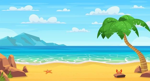 Zee landschap. tropisch strand, oceaankust
