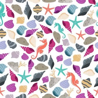 Zee leven naadloze patroon met zeepaardje en shell