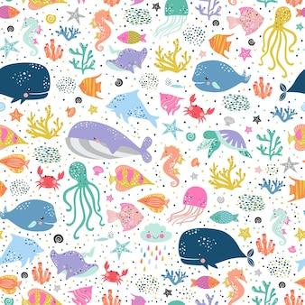 Zee leven schattig patroon.