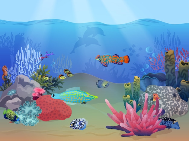 Zee oceaan onderwater landschap