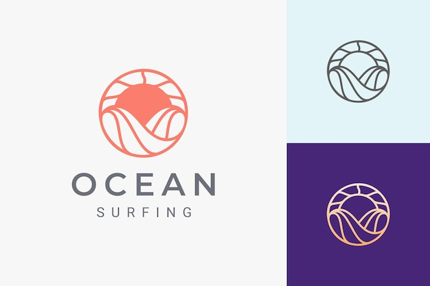 Zee- of waterthema-logo met golven en zon in cirkelvorm