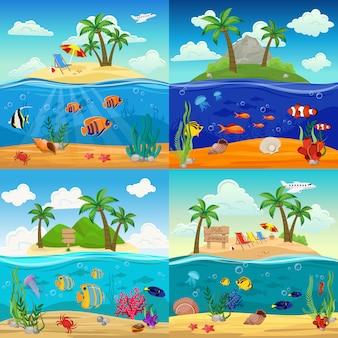 Zee onderwater leven illustratie set met vissen zeepaardje kwallen zeester schelpen krab zeewier op tropisch eiland landschap