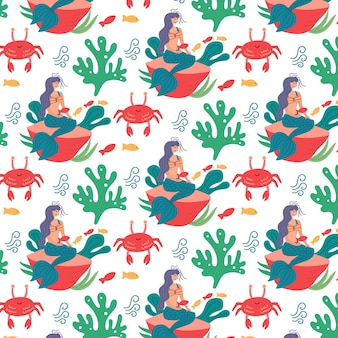 Zee patroon zeemeermin zeewier krab. kinderbehang voor kinderkamerinrichting. moderne platte vector naadloze illustratie
