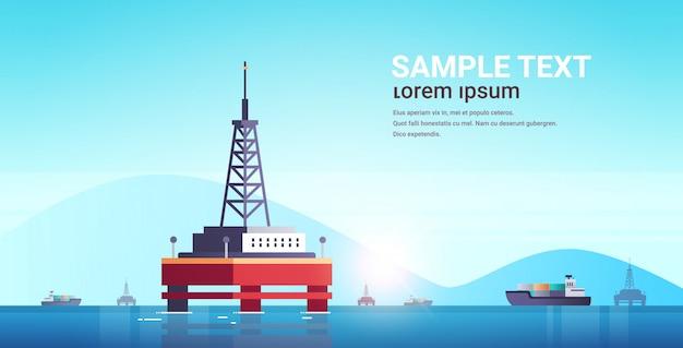 Zee platform industriële offshore boorinstallatie elektriciteitscentrale