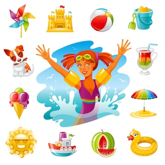 Zee reizen cartoon pictogrammen. zomervakantie set met baby meisje, speelgoed, zon, paraplu, ijs, hond, windmolen.
