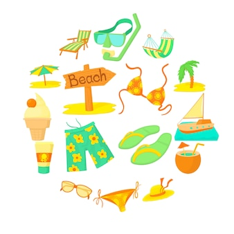 Zee rest icon set, cartoon stijl