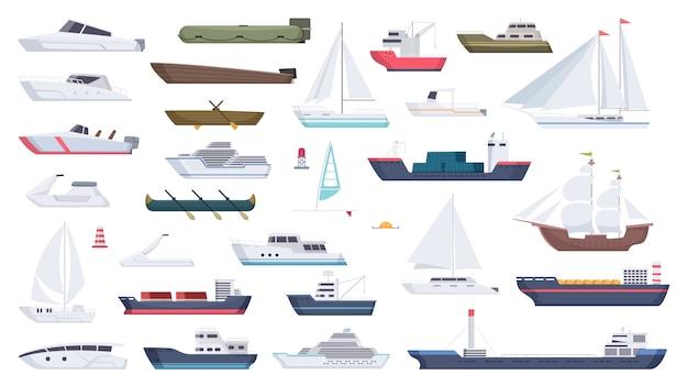 Zee schip. reizen boot varen illustraties motorboot oceaan groot vaartuig cartoon