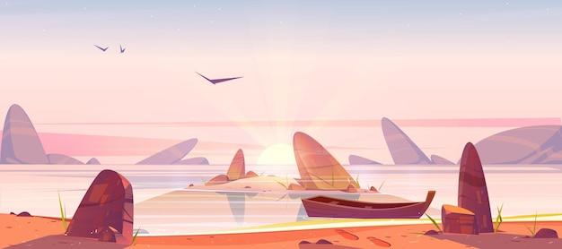 Zee strand en klein eiland in water met rotsen bij zonsopgang. vectorbeeldverhaalochtendlandschap van oceaan of meerkustlijn, zandkust met stenen, houten boot en rijzende zon met balken aan de horizon