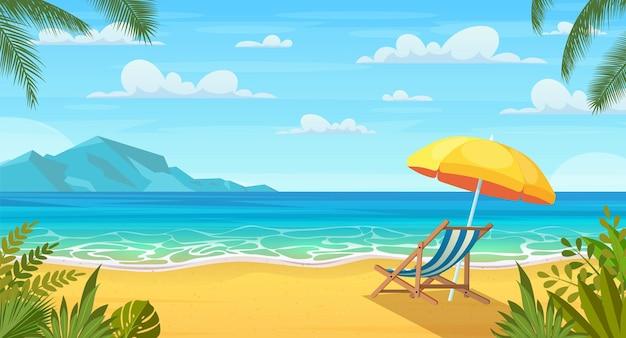 Zee strand en ligstoelen. zeegezicht, vakantie illustratie.
