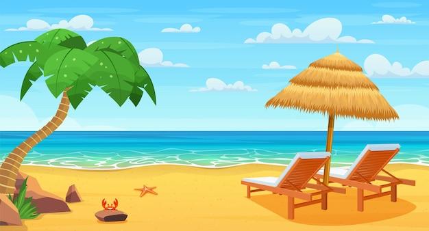 Zee strand en ligstoelen.