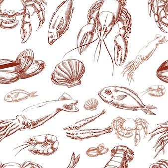 Zee voedsel hand tekenen naadloos