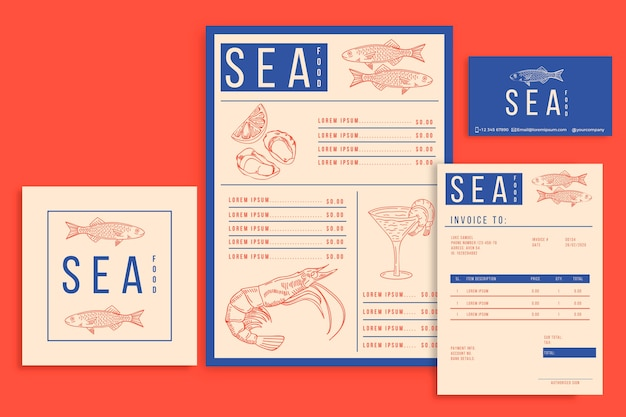Zee voedsel menusjablonen