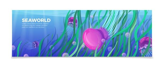 Zee wereld onderwater leven natuur natuurlijke schoonheid sjabloon.