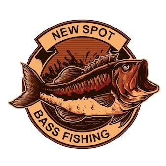 Zeebaars met haak voor het vissen met vintage logo-emblemen