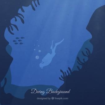 Zeebodem met een duiker achtergrond