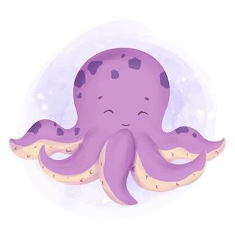Zeedier glimlach octopus aquarel