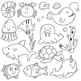 Zeedieren doodle kawaii lijntekeningen