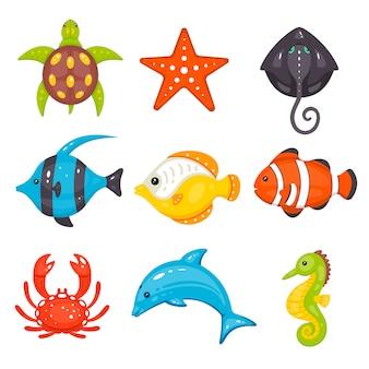 Zeedieren in cartoon hand getrokken stijl. zeeleven en onderwaterwezens bevatten schildpadden, zeesterren, pijlstaartroggen, vissen, krabben, dolfijnen, zeepaardjes.
