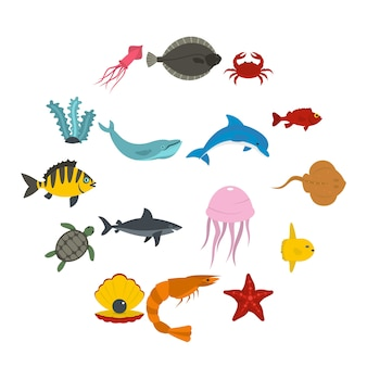 Zeedieren pictogrammen instellen in vlakke stijl