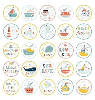 Zeedieren stickers. onderzeese wereldbewoners.