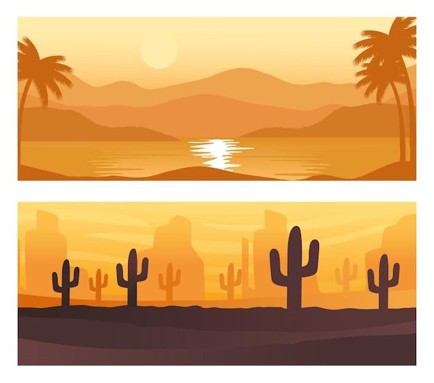 Zeegezicht en woestijn abstracte landschappen scènes achtergronden