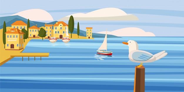 Zeegezicht, kuststad, zeemeeuw, overzees, zeilboot, oceaan, beeldverhaalstijl, vector, illustratie