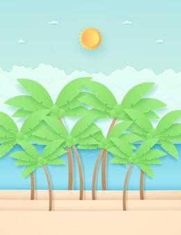 Zeegezicht, landschap, kokospalmen op het strand met zee, felle zon aan de hemel, papierkunststijl
