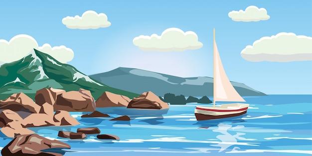 Zeegezicht, rotsen, kliffen, een jacht onder zeil, oceaan, branding, beeldverhaalstijl, vectorillustratie