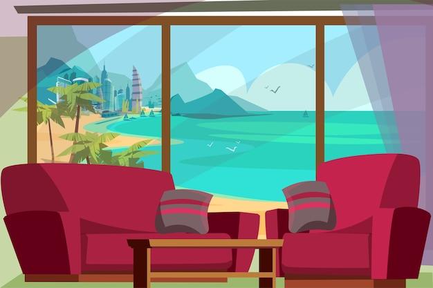 Zeegezicht uitzicht vanuit venster illustratie. panoramisch raam van de hotelkamer met uitzicht op de turquoise zee met jachten, bergen, zandstrand. luxe badplaats, stedelijk stadsgezicht met wolkenkrabbers, torens
