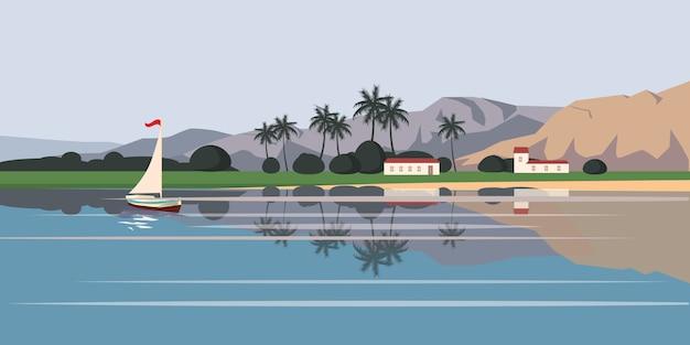 Zeegezicht, zeilboot, palmbomen, illustratie, cartoon stijl, geïsoleerd
