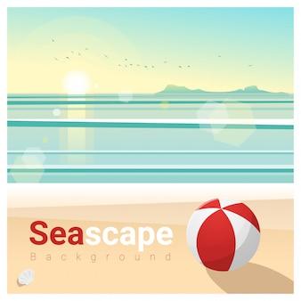 Zeegezichtachtergrond met tropisch strand in de ochtend