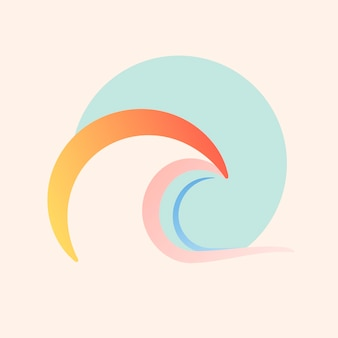 Zeegolfsticker, esthetische water clipart, kleurrijk logo-element voor zakelijke vector