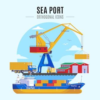 Zeehaven illustratie