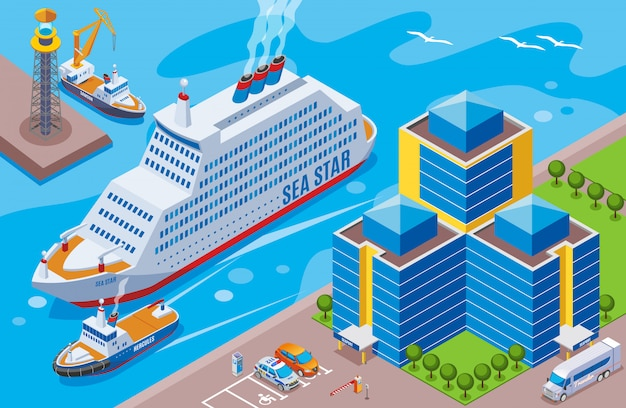 Zeehaven isometrisch gekleurd concept met groot schip genoemd zeester die in de havenillustratie varen