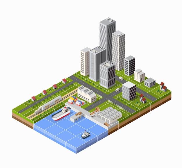 Zeehaven met de jachthaven. vrachtschepen in perspectief. ontwerp voor de schepen instellen.