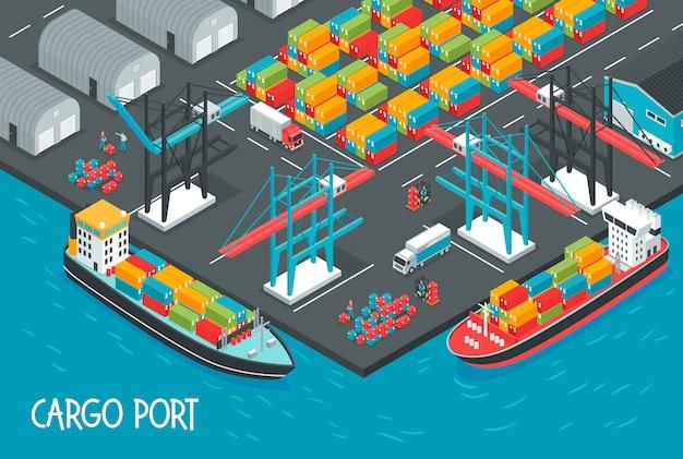 Zeehaven met vrachtschepenhoogtepunt van dozen en containers isometrische illustratie