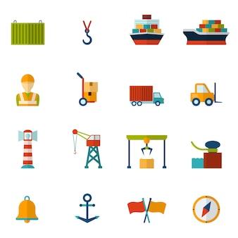 Zeehaven platte pictogram