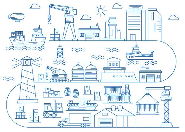 Zeehavenindustrie met havengebied line art