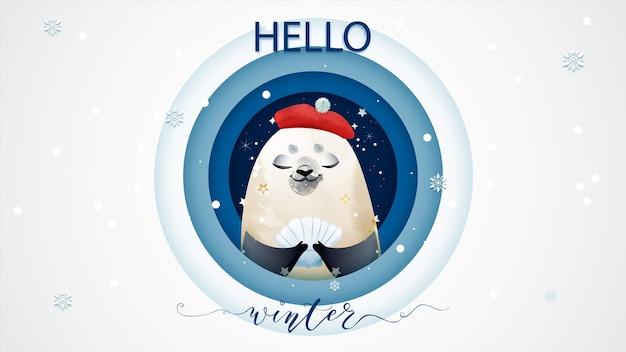 Zeehonden geven zegeningen en geschenken aan de vooravond van kerstmis in de winter.