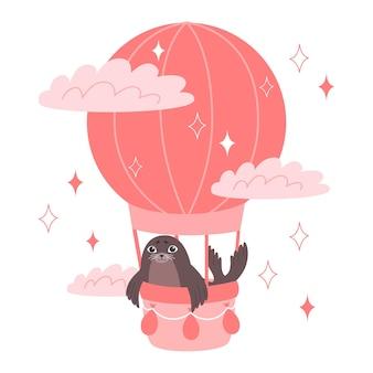 Zeehondenrit in een heteluchtballon. baby dieren illustratie voor kinderdagverblijf