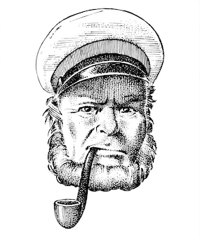 Zeekapitein, mariene oude zeeman met pijp of blauwjas, zeeman met baard of mannen zeevarende. reis per schip of boot. gegraveerde hand getrokken in oude boho schets.