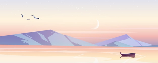 Zeelandschap met bergen in de ochtend
