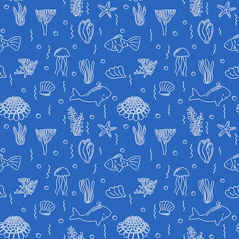 Zeeleven naadloos patroon eindeloze verzameling handgetekende illustratie visschelpen