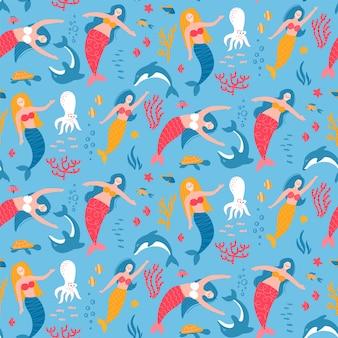 Zeemeermin en dier onder het zee naadloos patroon