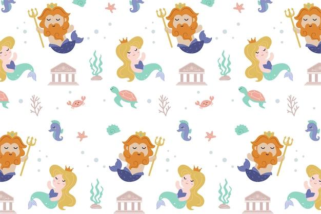 Zeemeermin en koning zeemeermin patroon